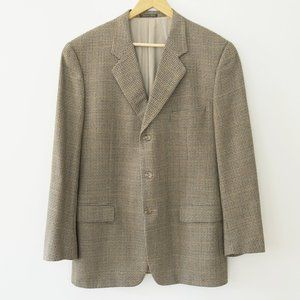 Corneliani Micro Plaid Virgin Wool Blazer